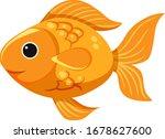 cute goldfish on white... | Shutterstock .eps vector #1678627600