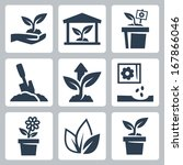 vector plant growing icons set | Shutterstock .eps vector #167866046