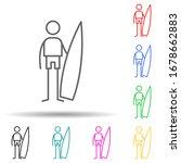 surfer multi color set icon....