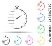 stopwatch multi color set icon. ...
