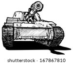 Vector drawing of heavy tank stylized as engraving. - stock vector