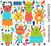 vector cartoon set of cute... | Shutterstock .eps vector #1678685029