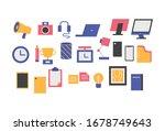 office stationery clock camera... | Shutterstock .eps vector #1678749643