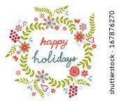 round floral frame in a shape... | Shutterstock . vector #167876270