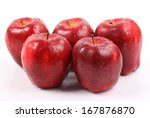 red apple with water drops... | Shutterstock . vector #167876870
