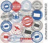 pennsylvania  usa set of stamps.... | Shutterstock .eps vector #1678805410