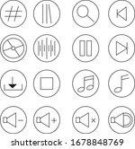 1 set  16 icon pack music black ...