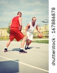 two basketball players on the... | Shutterstock . vector #167886878