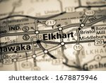 Elkhart. Indiana. USA on a map
