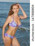 brunette purple swimsuit model... | Shutterstock . vector #167888804