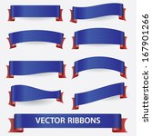 blue and red ribbon banners... | Shutterstock .eps vector #167901266