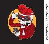 mexican gangster skull taking... | Shutterstock .eps vector #1679017906