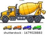concrete mixer truck pixel art...   Shutterstock .eps vector #1679028883
