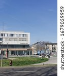 Small photo of Duesseldorf,Nordrhein-Westfalen/Germany - 03 17 2020: Citizens' Bureau / Community center Bilk and Dusseldorfer Arcaden shopping center with a large intersection