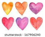 Watercolor Hearts  Valentine's...