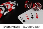 3d render Four aces and poker chips on a black background with dice - stock photo