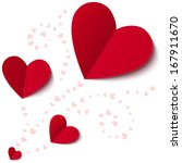 red heart from paper valentines ... | Shutterstock . vector #167911670