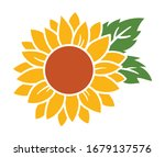 yellow sunflower with green... | Shutterstock .eps vector #1679137576