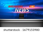 white table and breaking news... | Shutterstock .eps vector #1679153980