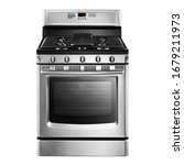 Small photo of Single Gas Range Cooker Isolated. Stainless Steel Kitchen Stove Front View. Modern Domestic Major Appliances. Steam Fuel Range with Convection Oven & Warming Drawer and Four Burner Cooktop Gas Hob