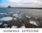 Frozen Lake At Duluth  Mn With...