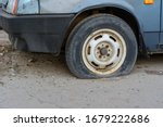 Close Up Damaged Tire. The...