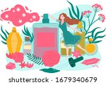 orgnanic natural cosmetics with ... | Shutterstock .eps vector #1679340679