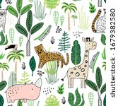 seamless childish jungle... | Shutterstock .eps vector #1679382580