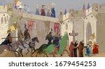 Medieval Scene. Crusaders In A...