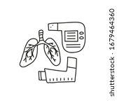 doodle outline lungs  pocket... | Shutterstock .eps vector #1679464360