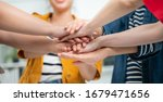 Small photo of Volunteer charity work join hand together concept.Business friend colleagues hand join together for successful business achievement,cooperation success.businesspeople partners hand join for success.