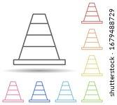 cone in multi color style icon. ...