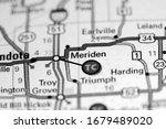 Meriden. Illinois. USA on a map