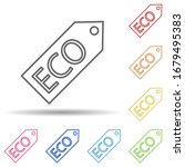 eco tag outline in multi color...