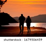 Silhouette Of Couple  Male And...
