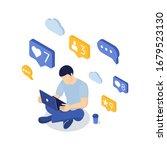 social media concept with... | Shutterstock .eps vector #1679523130