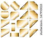 set of golden stickers   ...   Shutterstock . vector #167953010
