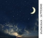 beautiful night sky with a lot... | Shutterstock . vector #167953040