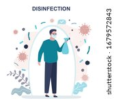 man standing and disinfects....   Shutterstock .eps vector #1679572843