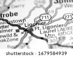 Ligonier. Pennsylvania. USA on a map