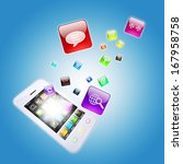 smart phone and program icons.... | Shutterstock . vector #167958758
