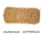 Isolated bale of hay on white
