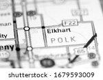 Elkhart. Iowa. USA on a map