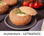 Egg Served In Bread Bowl....