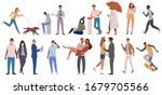 multiracial people casual... | Shutterstock .eps vector #1679705566