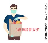 safe food delivery. young... | Shutterstock .eps vector #1679711023