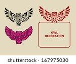 owl vintage decoration. nice... | Shutterstock .eps vector #167975030