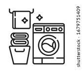 laundry room black line icon....