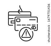 banking scam black line icon....