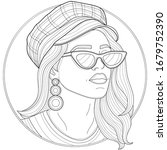 beautiful girl in a cap ... | Shutterstock .eps vector #1679752390